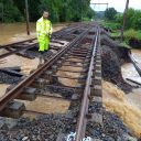 Inondations de la voie ferrée, source: Infrabel