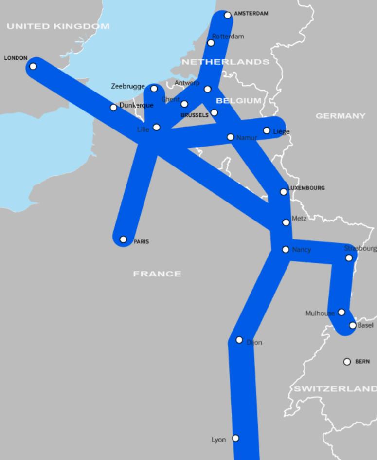 Noordzee-Middellandse Zeecorridor verbindt de havens van Antwerpen, Zeebrugge en Gent met het zuiden van Europa.