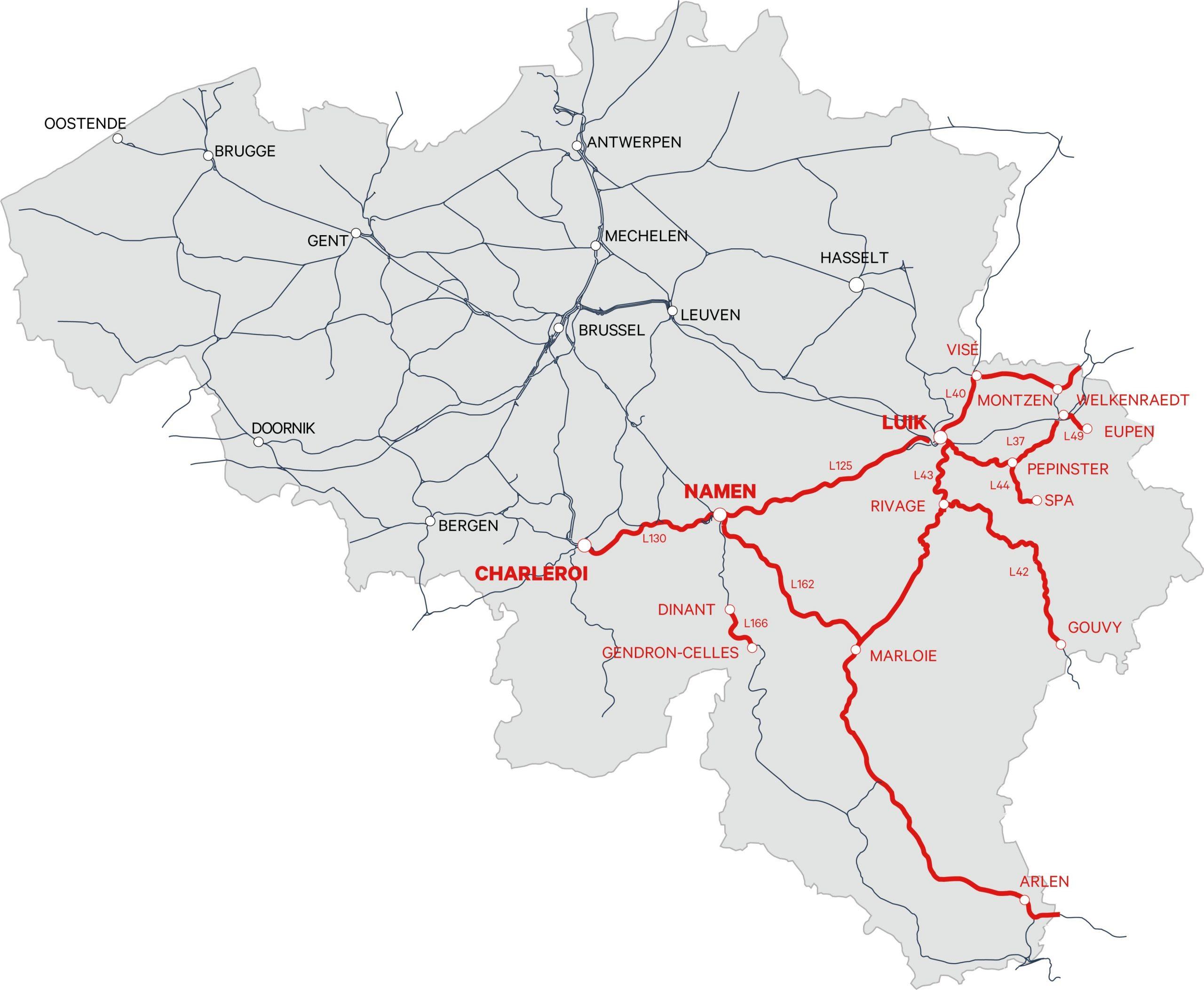 Treinverkeer gestremd in Wallonië door wateroverlast