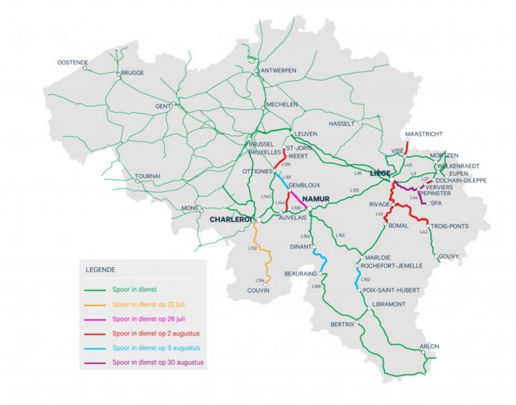 Schematisch overzicht van geplande heropening spoorlijnen in Wallonië