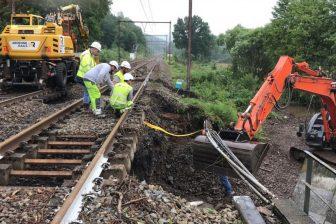 Spoorwerkzaamheden in Wallonië na watersnoodramp