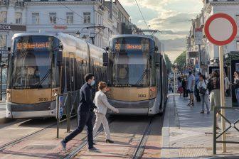 spoorwerkzaamheden in Louizalaan, Brussel