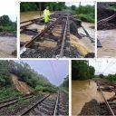 Overzicht waterschade op het spoor door overstromingen