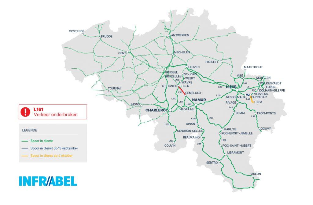 Overzicht resterende werken na watersnoodschade aan het spoor in Wallonië