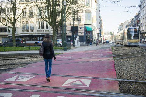 tramspoor in Brussel